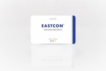 Plastikinė kortelė su skylute laikikliui