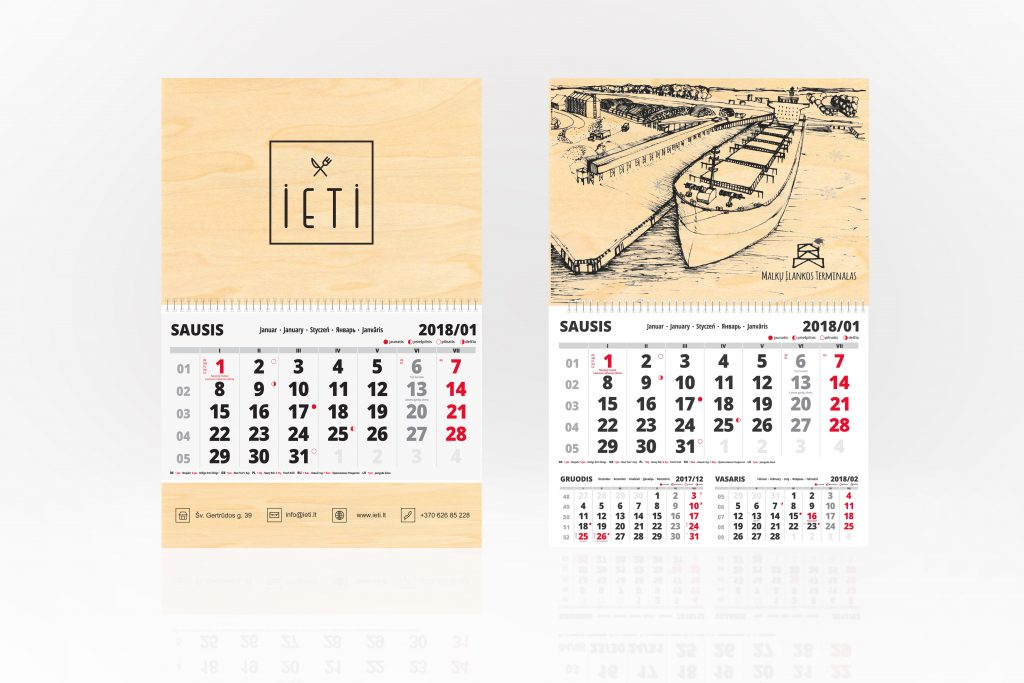 Vienos dalies sieniniai kalendoriai