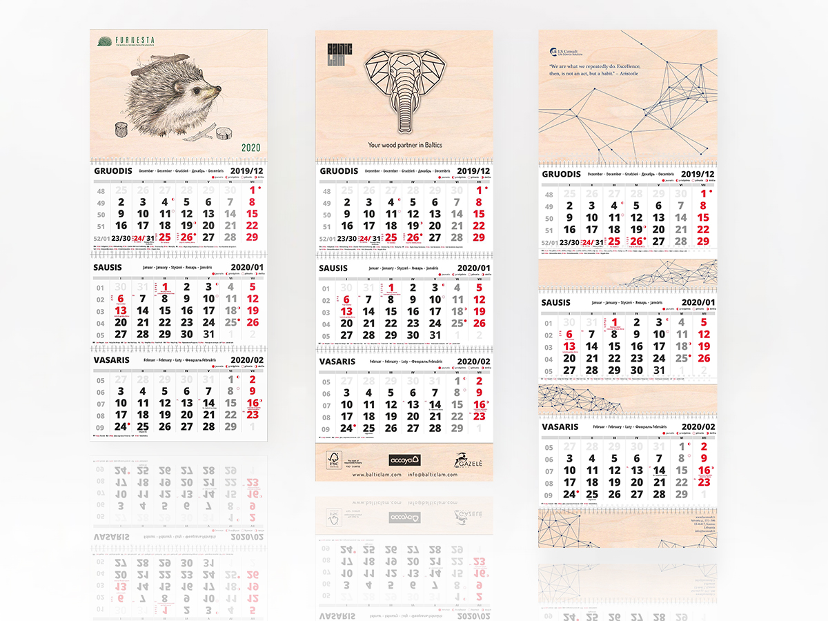 Trijų dalių sieniniai kalendoriai