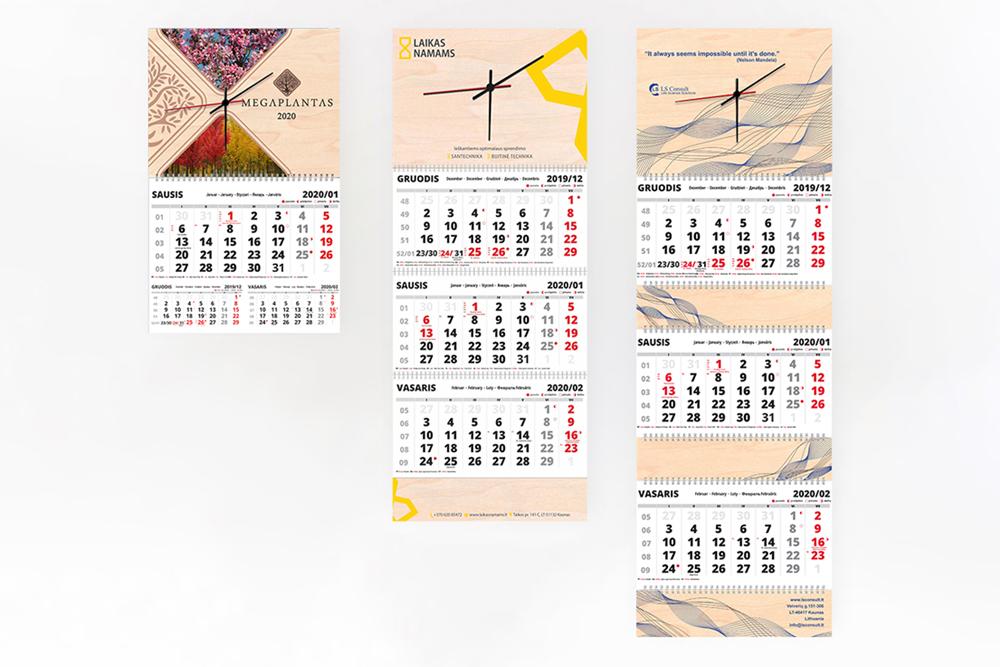 Sieniniai kalendoriai su laikrodžiu